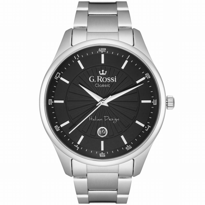 Zegarek męski z datownikiem na srebrnej bransolecie G.Rossi C12156B2-1C1