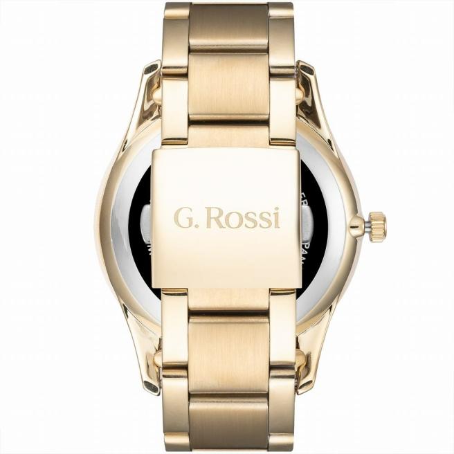 Elegancki zegarek męski z datownikiem na złotej bransolecie G.Rossi C12156B2-1D1