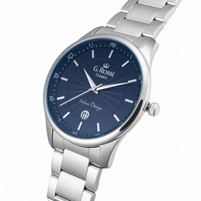Zegarek męski na srebrnej bransolecie z niebieską tarczą G.Rossi C12156B2-6C1