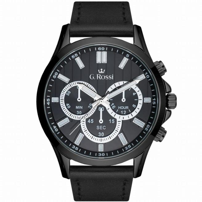 Zegarek męski na czarnym skórzanym pasku G.Rossi 8071A2-1A5
