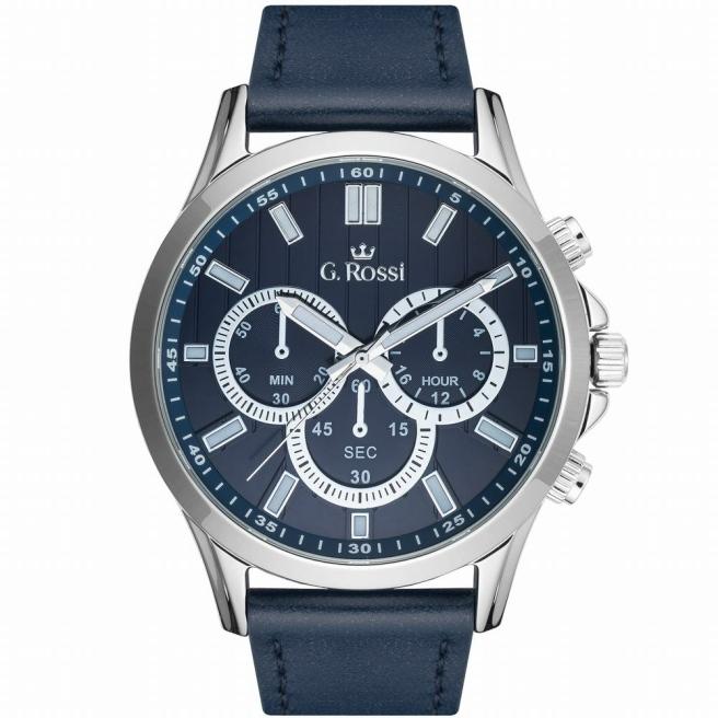 Zegarek męski na niebieskim skórzanym pasku G.Rossi 8071A2-6F1