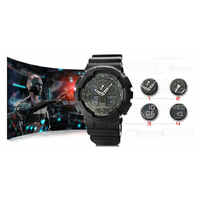 Zegarek Meski CASIO G SHOCK GA 100 1A1ER 20 Bar Do nurkowania 10