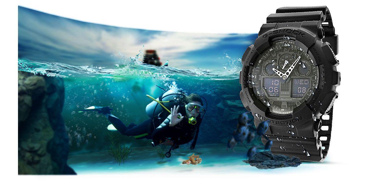 Zegarek Meski CASIO G SHOCK GA 100 1A1ER 20 Bar Do nurkowania 11